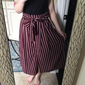 Lapis Striped Paper bag Skirt